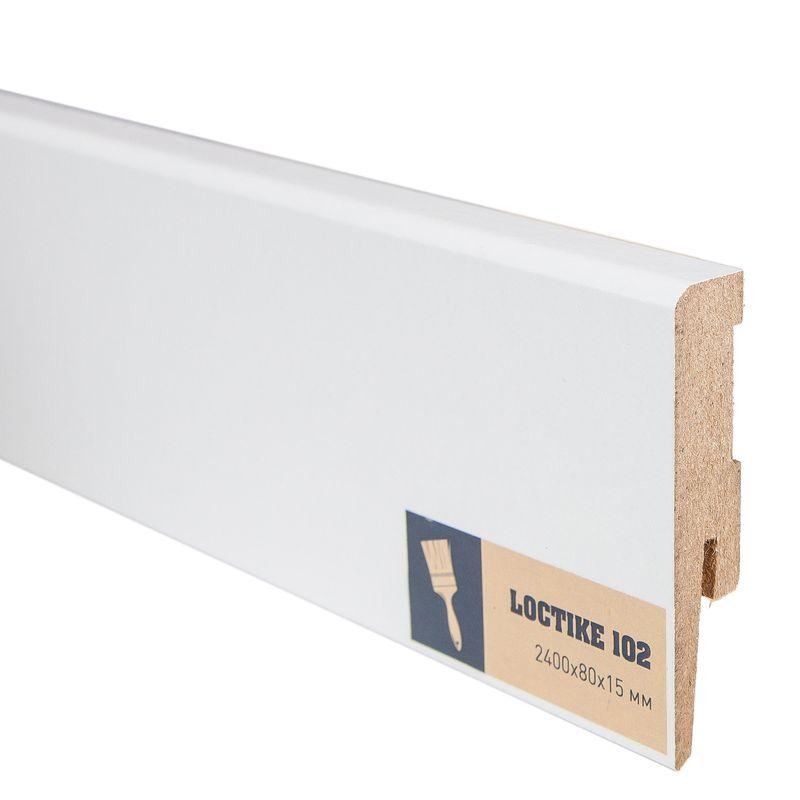 Купить Плинтус Arbiton Loctike 102, МР0801, белый, 2420х80х15 мм., Белый, Ламинированный МДФ, Польша