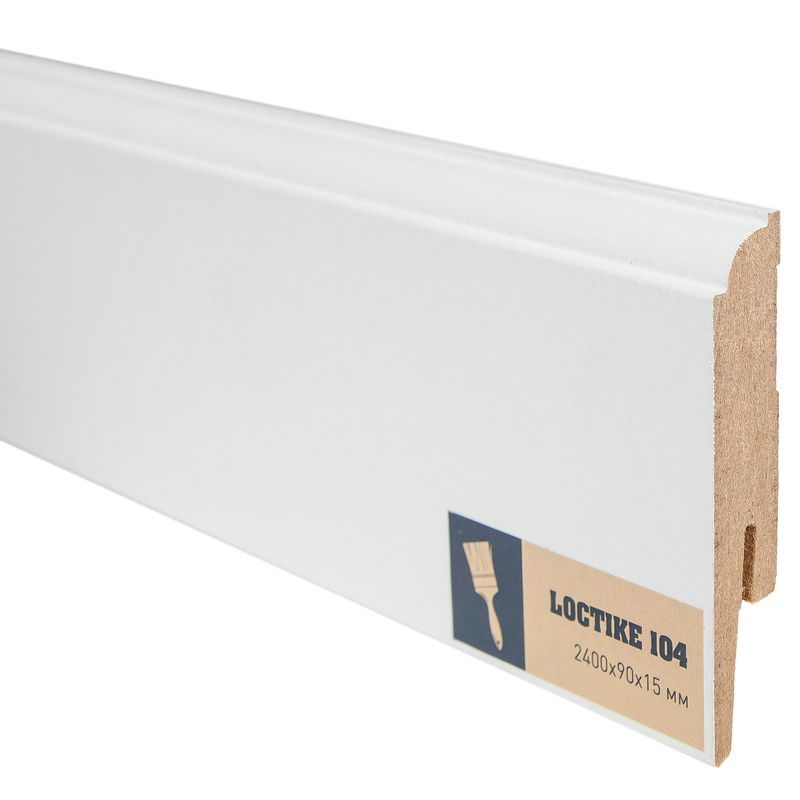 Купить Плинтус Arbiton Loctike 104, МР0901, белый, 2420х90х15 мм., Белый, Ламинированный МДФ, Польша