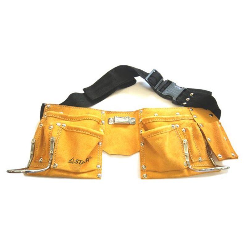 Купить со скидкой Пояс для инструментов Stayer 38510 кожаный, 10 карманов, 2 скобы