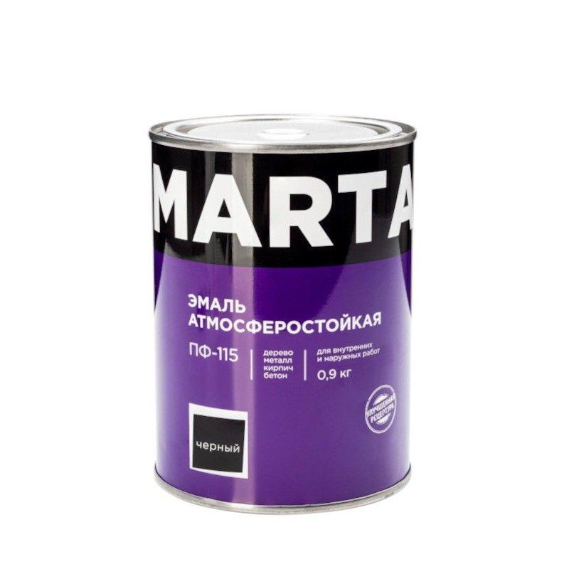 Эмаль ПФ-115 MARTA, черная, 0,9кг