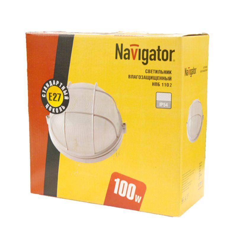 Купить со скидкой Светильник влагозащищенный круг белый с решеткой 100Вт НПБ 1102
