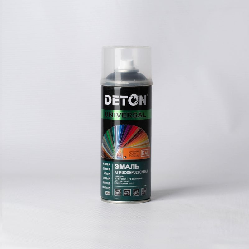 Эмаль аэрозольная DETON черная матовая (9005) 0,52л фото