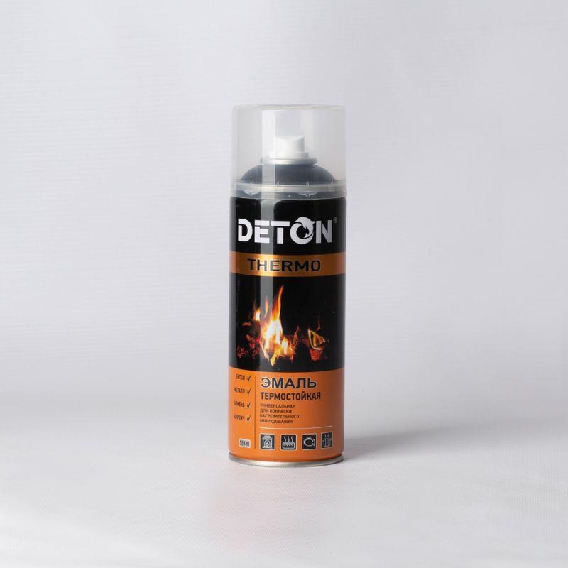 Эмаль аэрозольная DETON THERMO термостойкая (до+750°С) черная, 0,52л фото