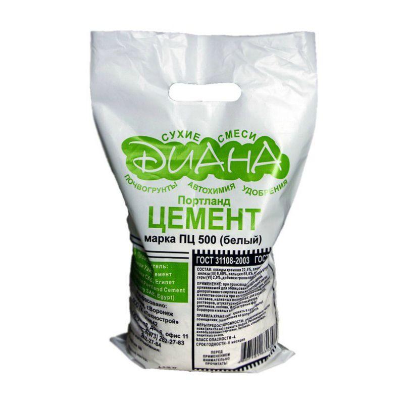 Цемент Диана ПЦ-500 белый, 5 кг фото
