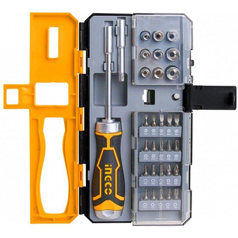 Отвертка-трещотка в наборе Ingco HKSDB0338 Industrial, 33 предмета фото