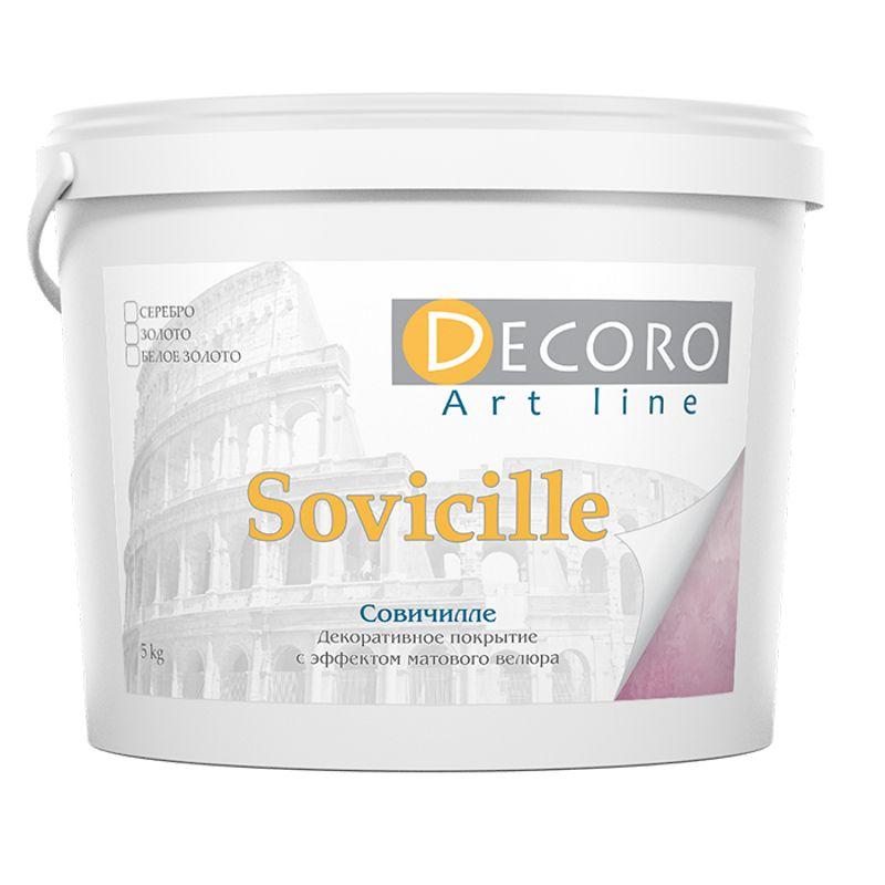 Краска перламутровая Decoro Sovicille (эффект велюра), белое золото, 5кг фото