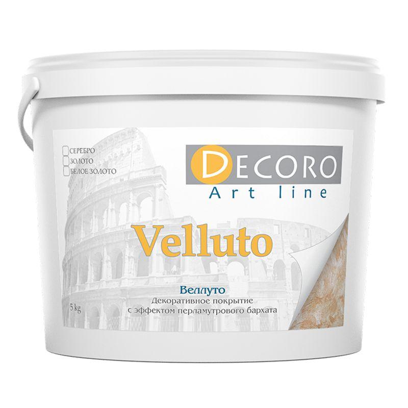 Краска перламутровая Decoro Velluto (эффект бархата), белое золото, 1кг фото