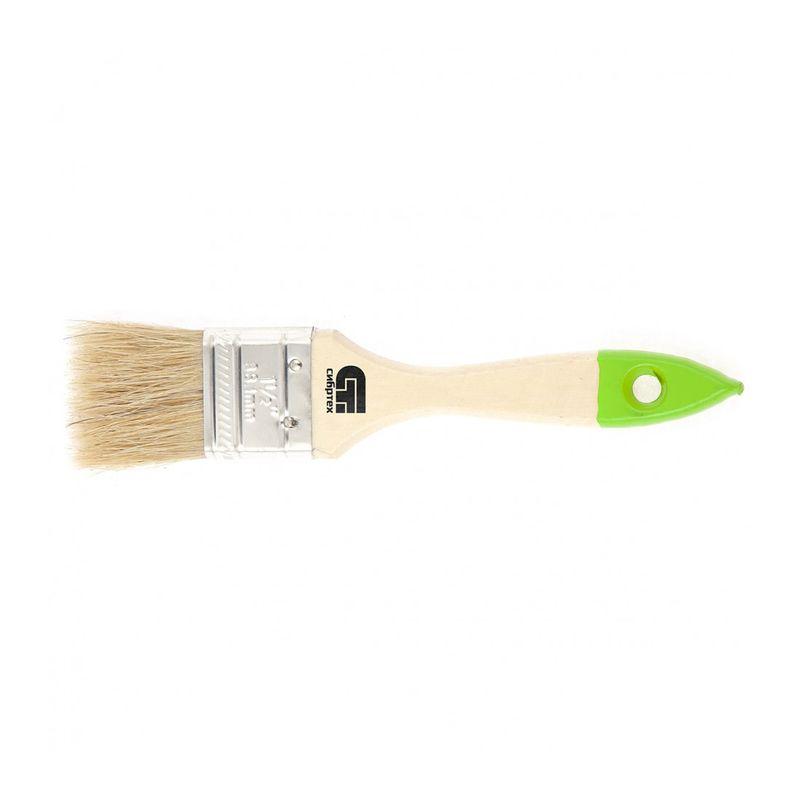 Кисть плоская 36 мм, натуральная щетина, деревянная ручка// Сибртех фото