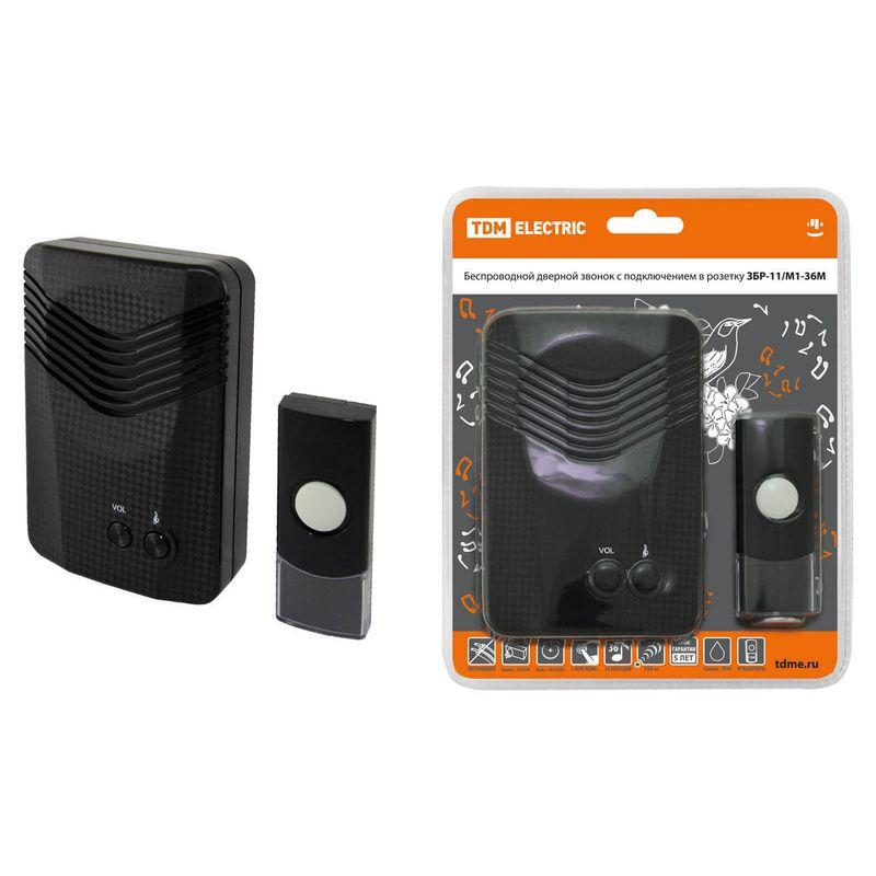 Купить Звонок беспроводной в розетку ЗБР-11/М1-36М (36 мелодий, кнопка IP44, AC 230V, многокодовый) TDM