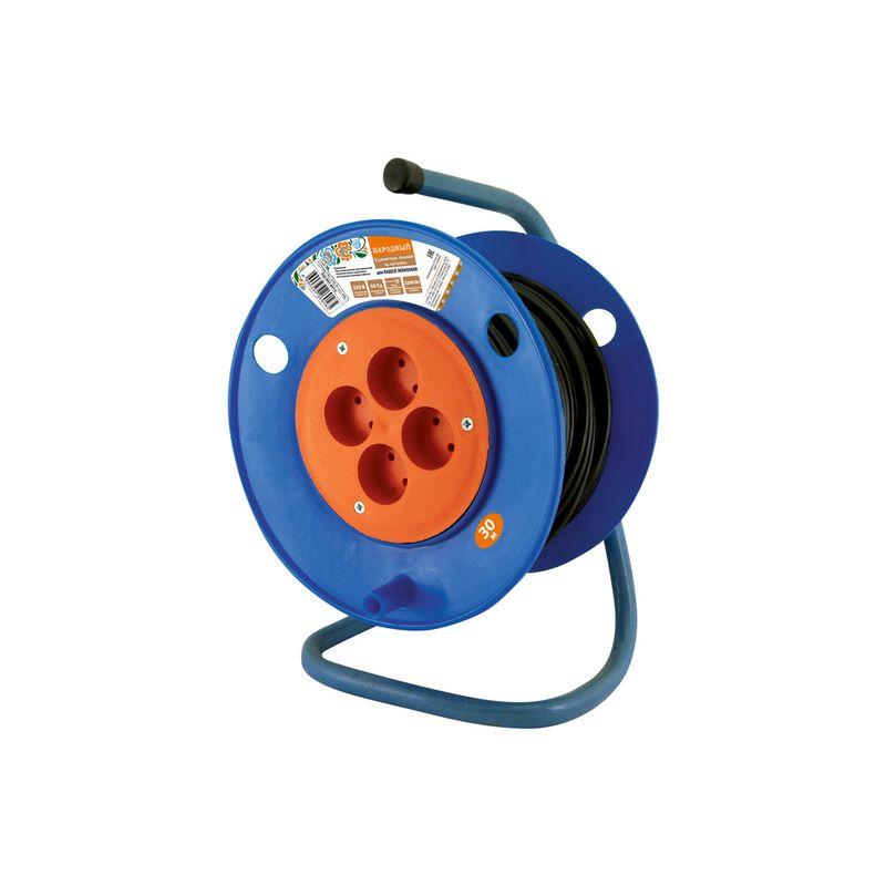 Купить Удлинитель на катушке силовой народный 4 гнезда ПВС 2200 Вт с/з, 30м, TDM, Синий, Китай