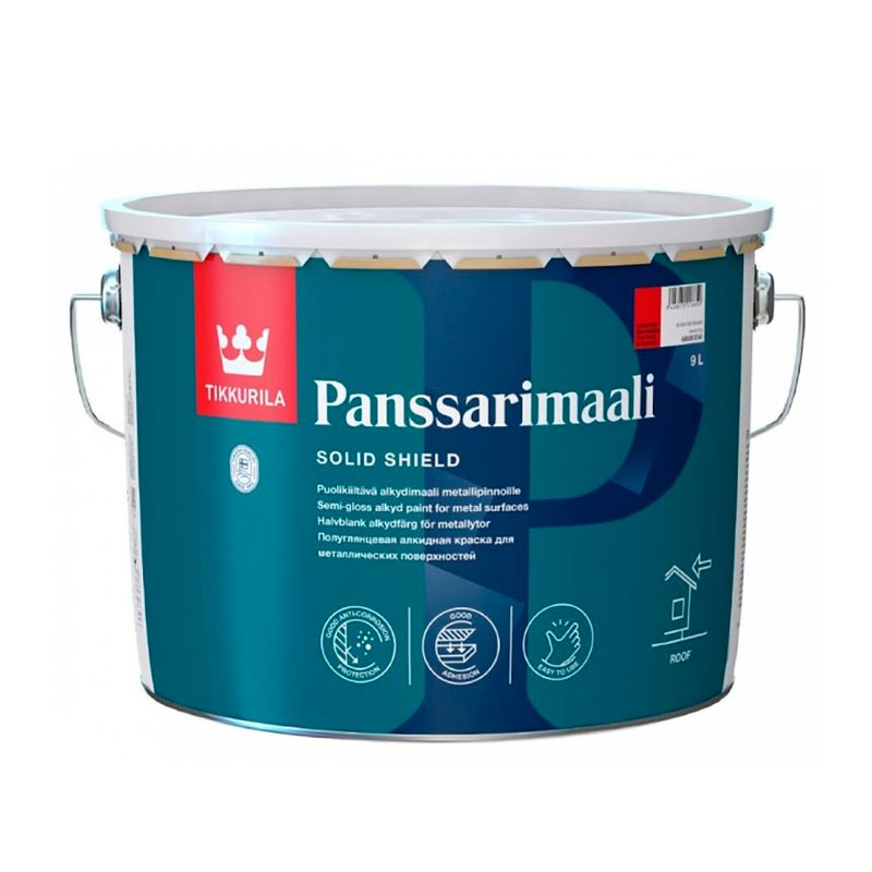Фото #1: Краска для крыш и металлоконструкций Tikkurila Panssarimaali п/гл., база А, 9л