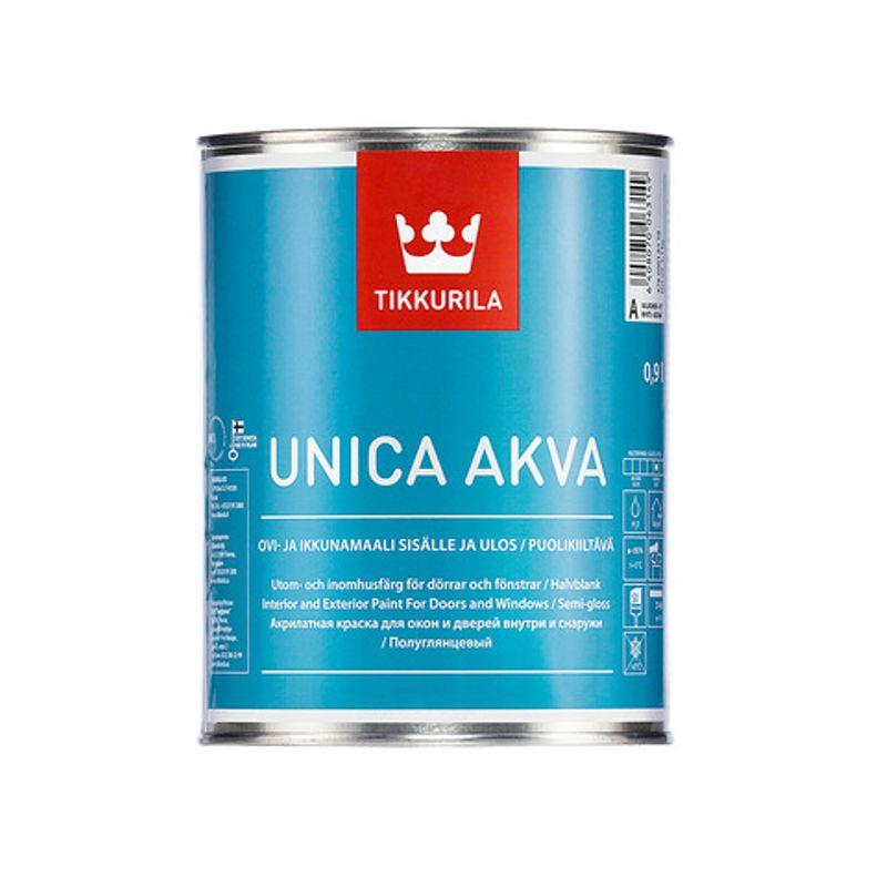 Краска Tikkurila Unica Akva Maali для окон и дверей база А 9л фото