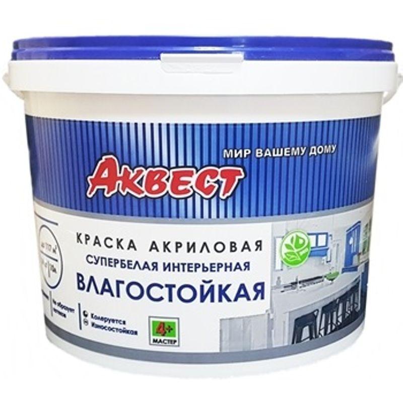 Краска Аквест 4+ Мастер для стен и потолков супербелая 14кг фото