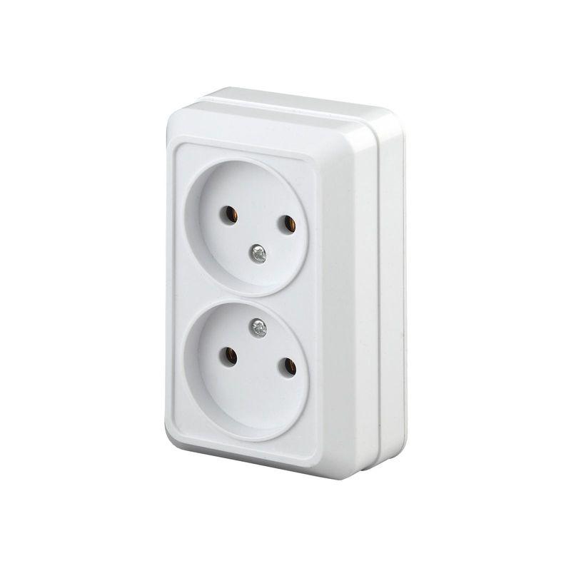 Купить Розетка 2х2P Intro 2-203-01 16АХ-250В Quadro белый, Белый