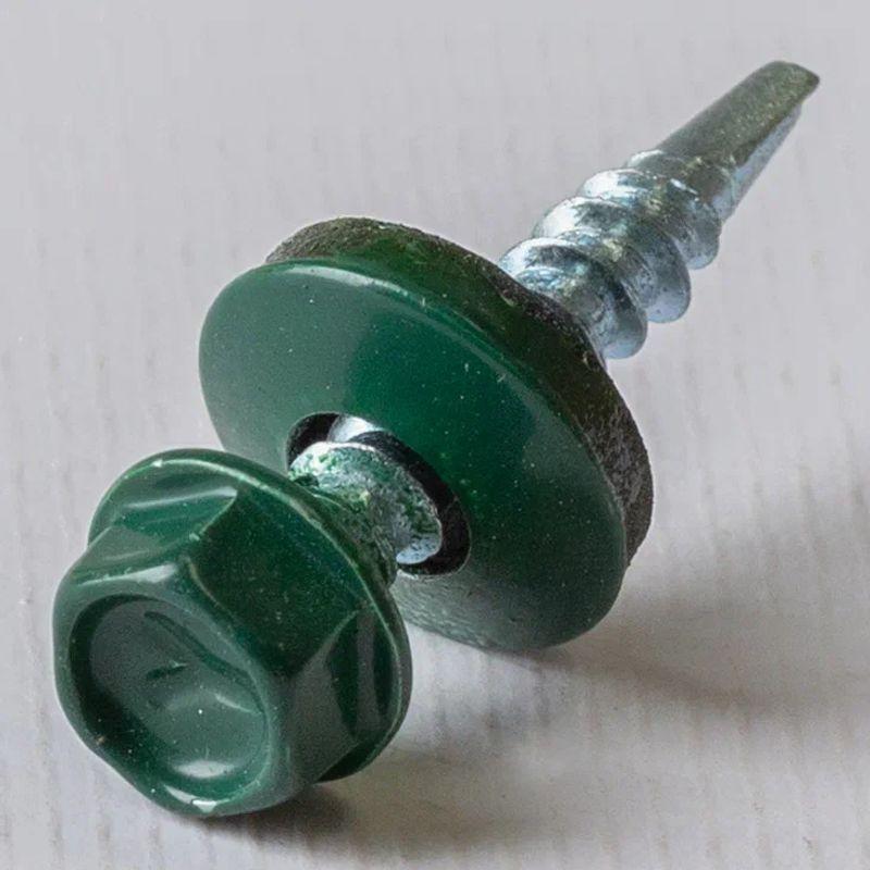 Купить Саморез кровельный 4, 8х29 RAL 6005 зеленый KRcwZD Yoko, Зеленый мох, Сталь с1022, Китай