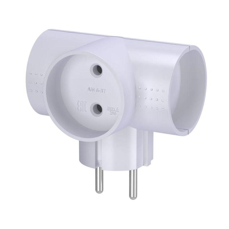 Разветвитель-тройник электрический белый 16А 250B
