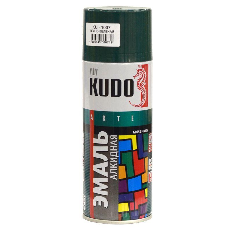 Эмаль аэрозольная KUDO темно-зеленая (1007), 0,52л фото