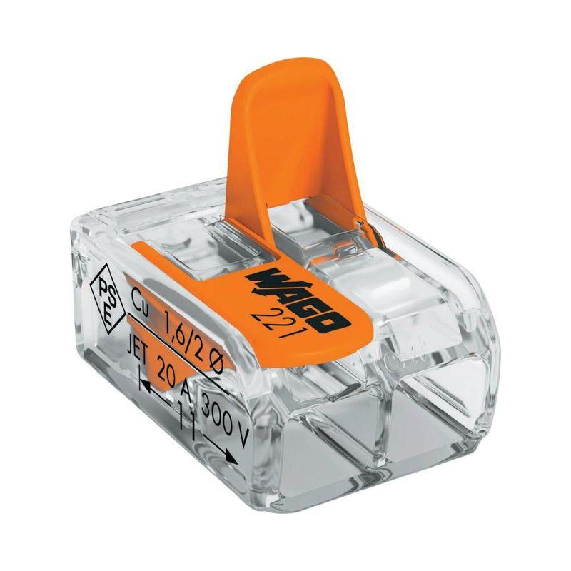 Купить со скидкой Клемма соединительная с рычажком WAGO 221-412 2-х проводная (0,14-4мм²), 450В, 32А, без пасты, 20 шт