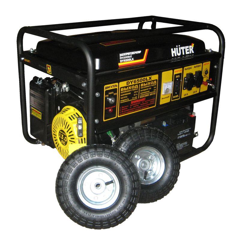Электрогенератор DY6500LX с колёсами и аккумулятором Huter фото
