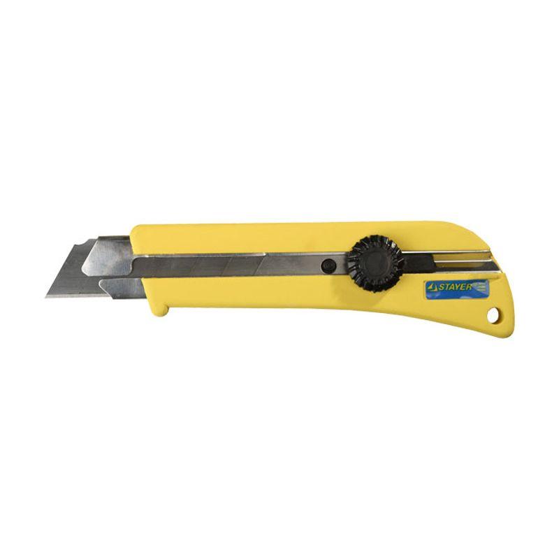 Нож ПРОФИ с выдвижным сегмент. лезвиями 25мм, самофиксирующися STAYER 09173 фото