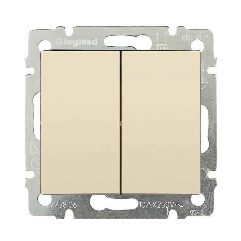 Купить со скидкой Выключатель двухклавишный слоновая кость 10А VALENA LEGRAND