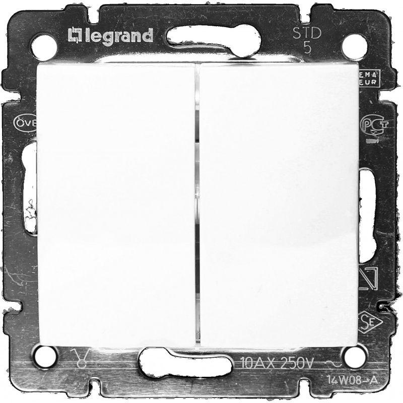 Купить со скидкой Выключатель двухклавишный белый 10А VALENA LEGRAND
