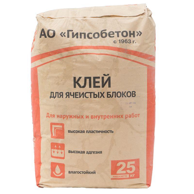 Клей для ячеистых блоков Гипсобетон, 25 кг фото