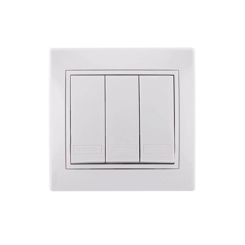 Выключатель трехклавишный белый 10А МИРА LEZARD