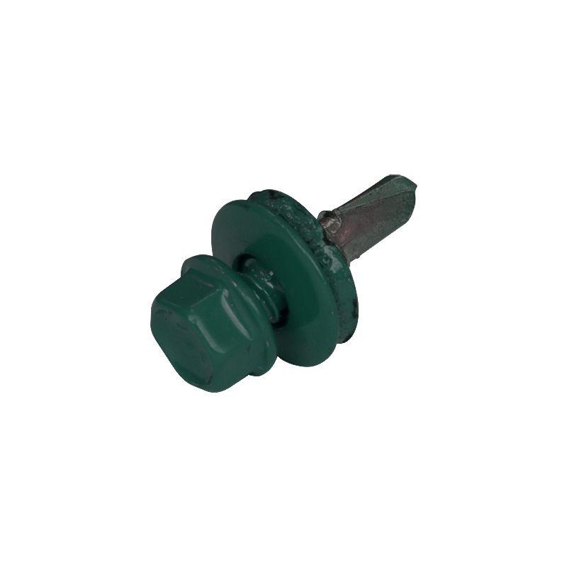 Купить Саморез кровельный по металлу 5, 5х19 мм RAL 6005 зеленый мох, Зеленый мох, Нержавеющая сталь, Китай
