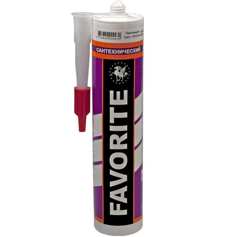 Купить Герметик силиконовый санитарный FAVORITE 280 мл прозрачный, Бесцветный
