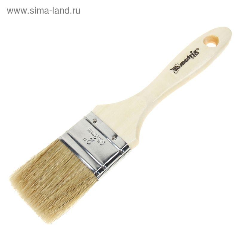 Кисть плоская Евро 50мм, натуральная щетина, деревянная ручка MATRIX фото
