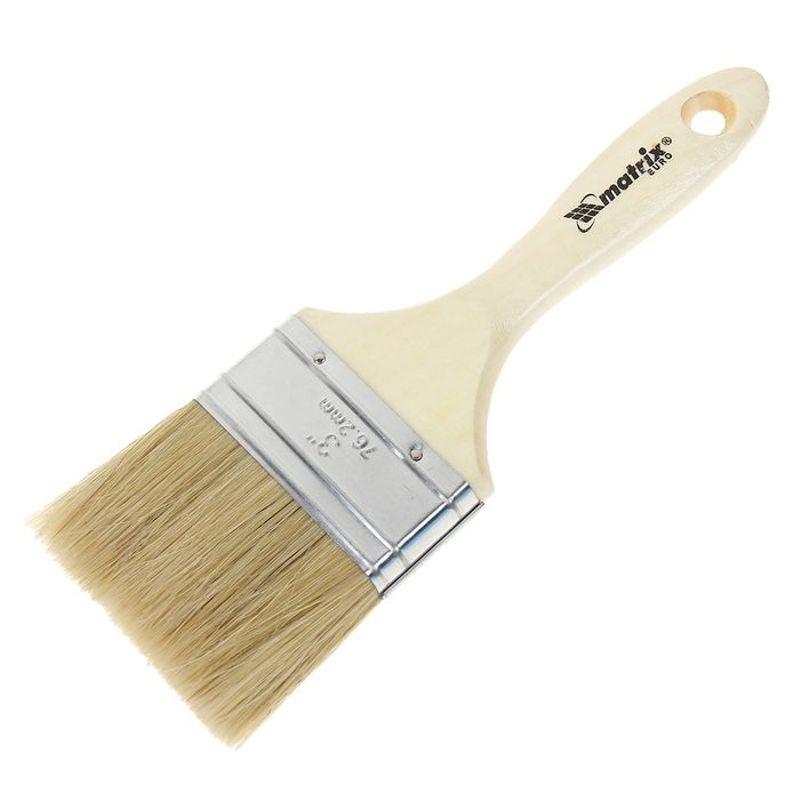 Кисть плоская Евро 75мм, натуральная щетина, деревянная ручка MATRIX фото