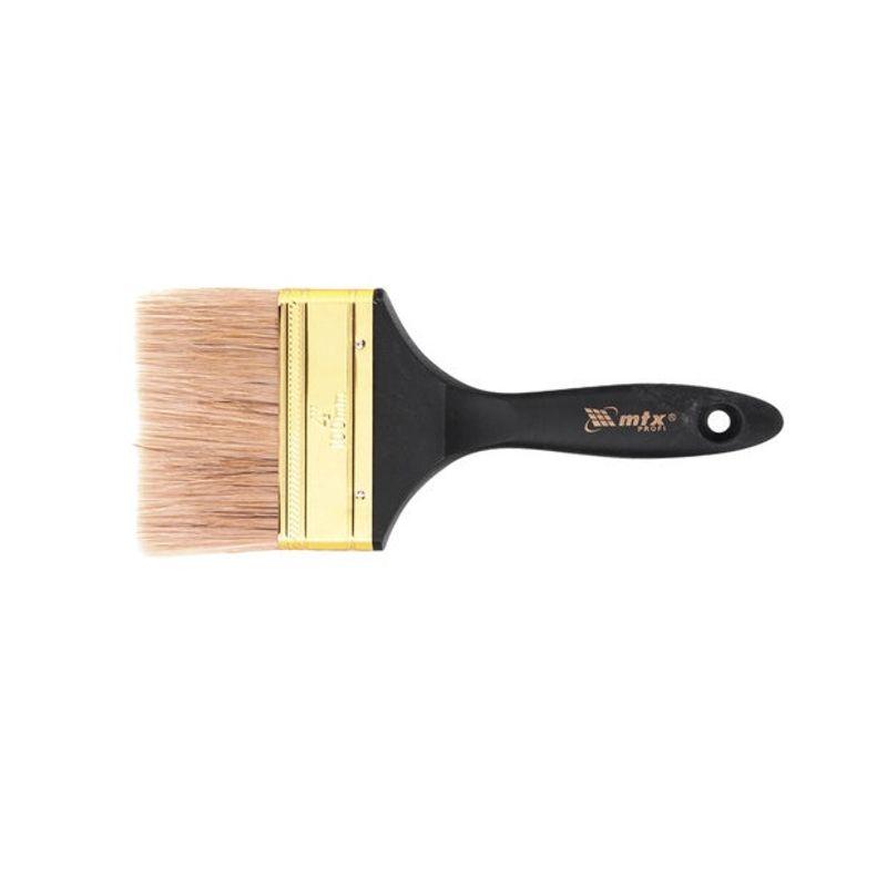 Кисть плоская 100мм, натуральная щетина, деревянная ручка Профи MATRIX