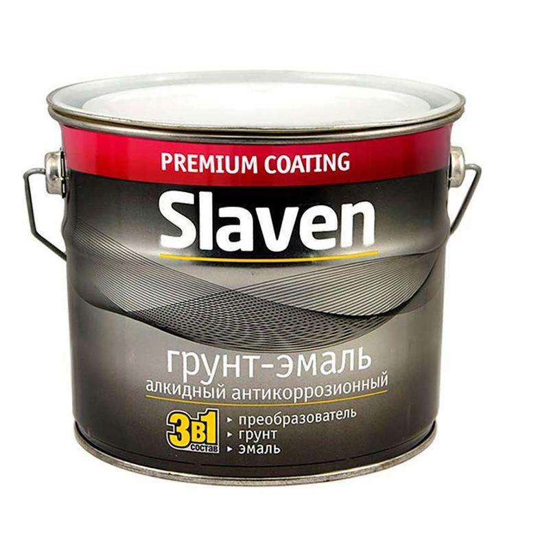 Грунт-эмаль по ржавчине 3в1 Slaven черный 3,2 кг фото