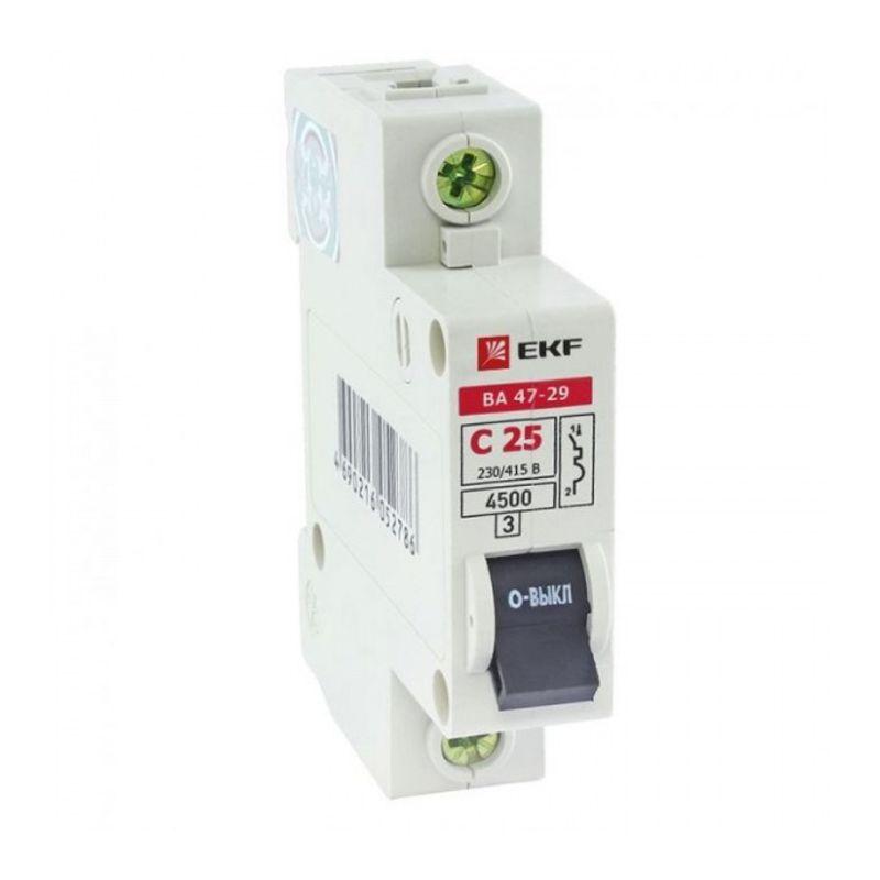 Выключатель автоматический однополюсный 25А С ВА47-29 4.5кА EKF