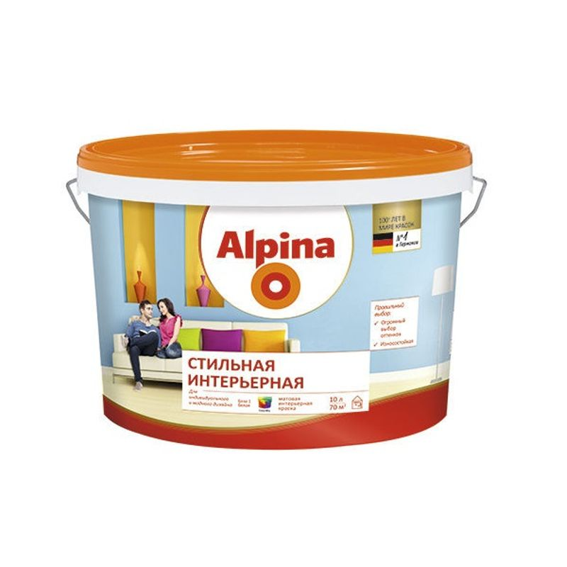 Краска Alpina стильная интерьерная база 1 10л фото