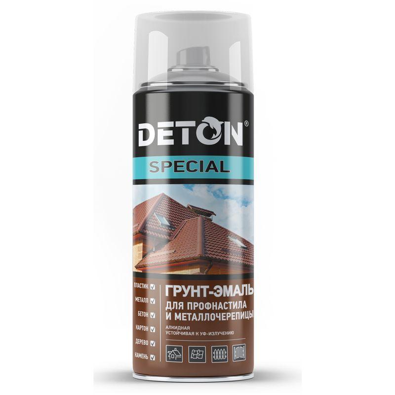 Эмаль аэрозольная DETON шоколадно-корич. (8017) для профнастила и металлочерепицы 0,52л