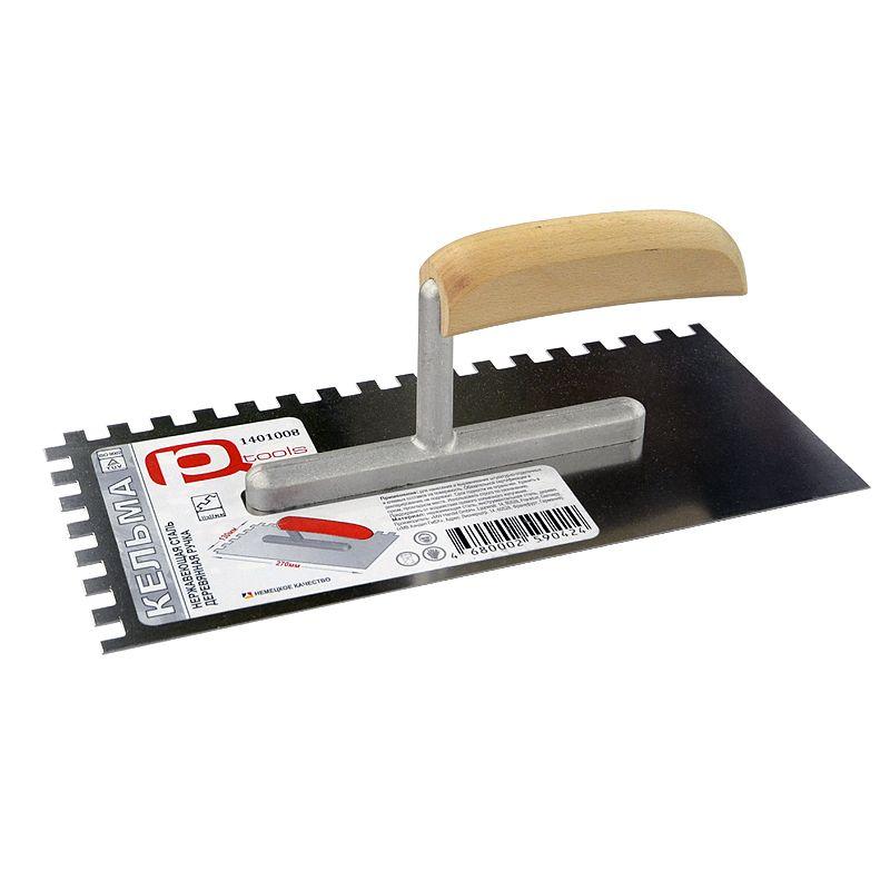 Гладилка нержавеющая зубчатая 8 х 8 мм с деревянной ручкой PQTools 130 х 270 мм