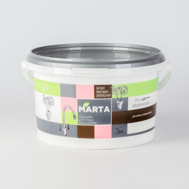Краска для кухонь и ванных комнат MARTA ECO, белая, 3кг фото