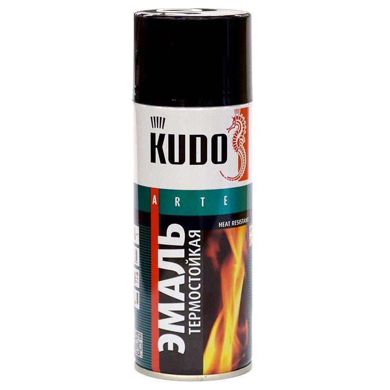 Эмаль аэрозольная термостойкая (до +600°С) KUDO черная (5002), 0,52л фото