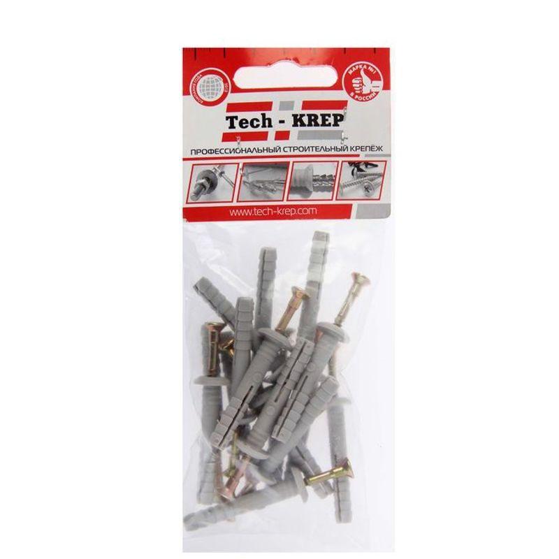 Дюбель-гвоздь с грибовидной манжетой полипропиленовый 6х40 мм 16 штук в упаковке (пакет) Tech-Krep