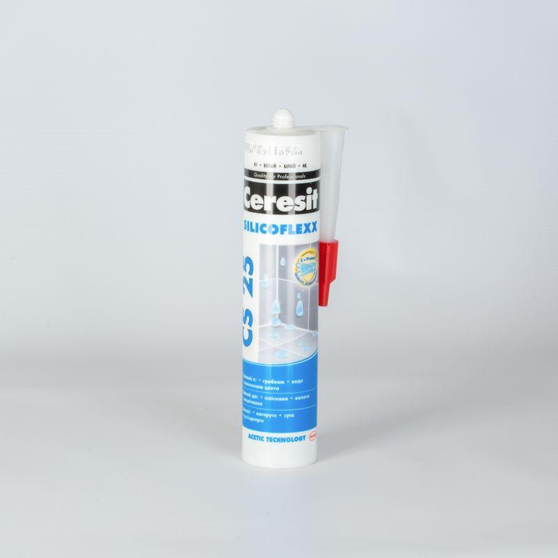 Затирка Ceresit CS25 эластичная силиконовая (белая), 280 мл