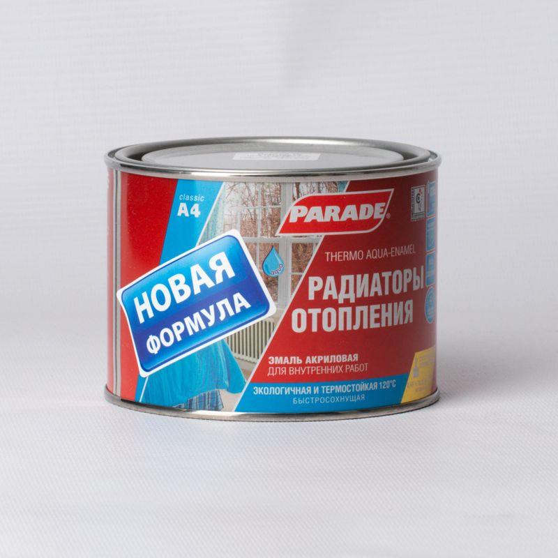 Эмаль для радиаторов и батарей Parade A4 (до +120С), белая, полуматовая, 0,45л