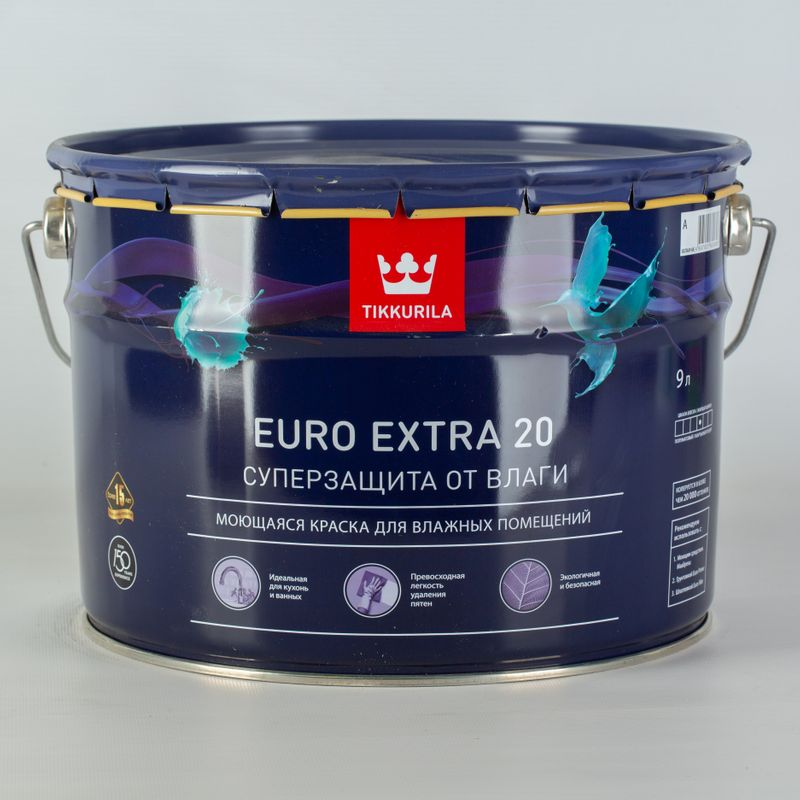 Купить Краска для кухонь и ванных комнат Tikkurila Euro Extra 20, полуматовая, 9л, Белый