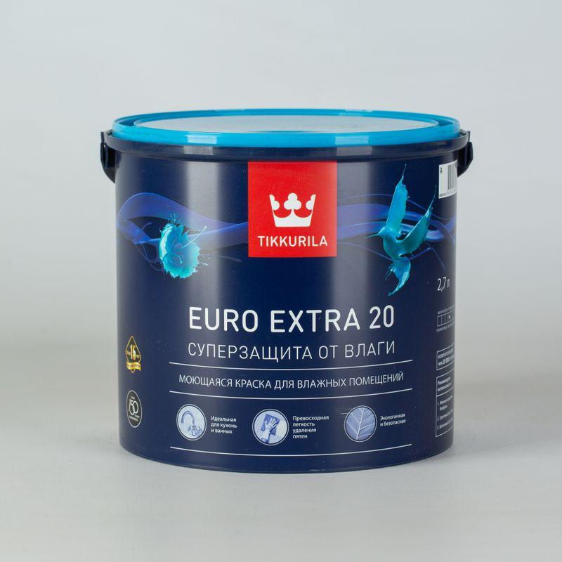 Купить Краска для кухонь и ванных комнат Tikkurila Euro Extra 20, полуматовая, 2, 7л, Белый