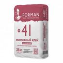 Клей монтажный гипсовый Forman 41 высокопрочный для ГКЛ И ПГП, 25кг