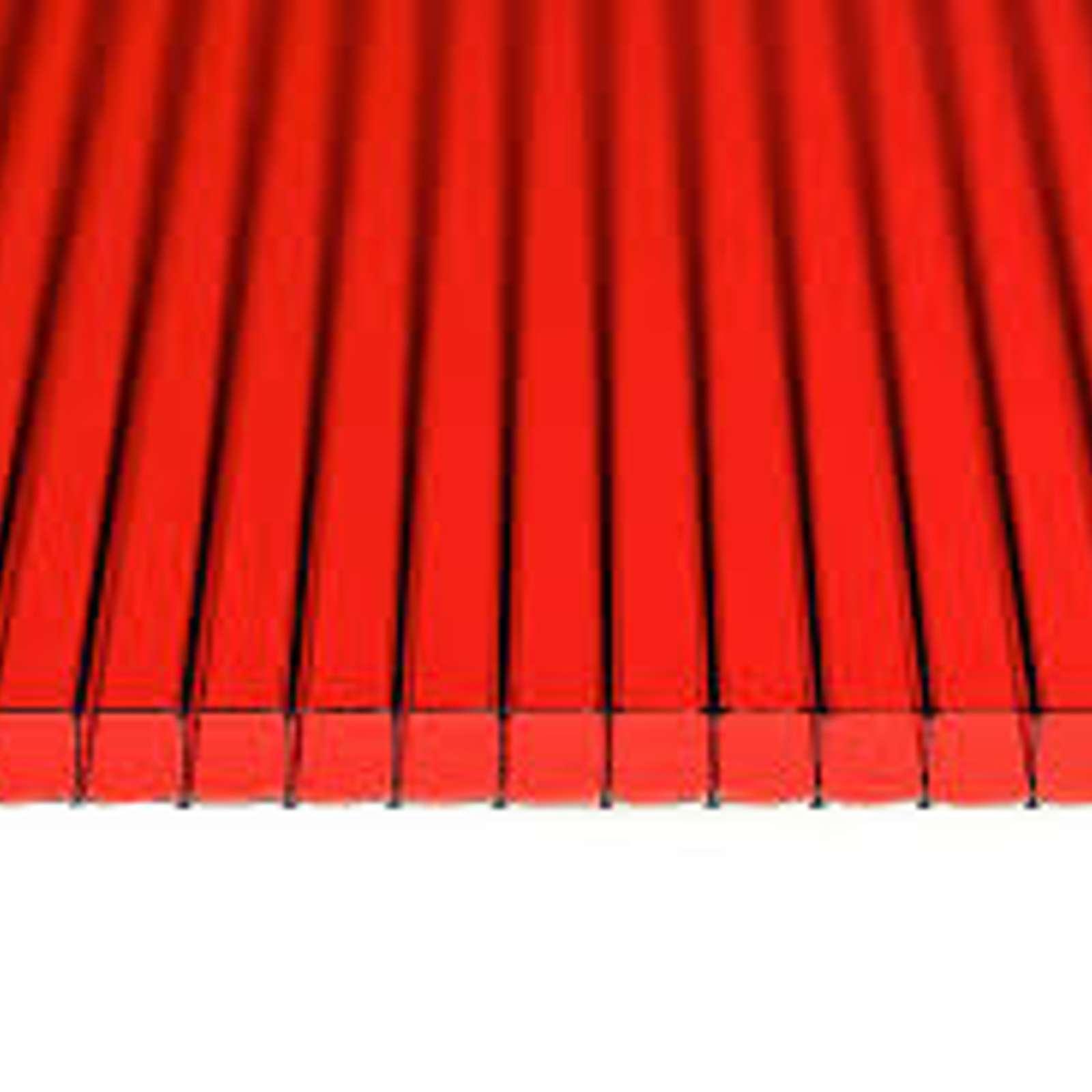 Сотовый поликарбонат красный 4 мм 2,1х6 м, плот. 0,5кг/м2