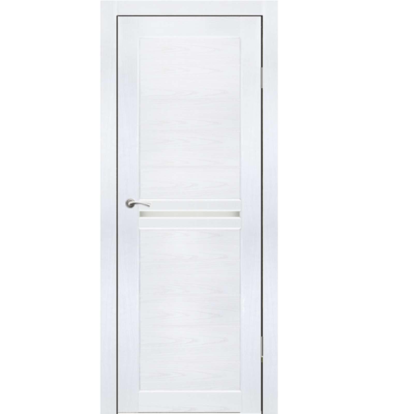 Полотно дверное остекленное Лацио СИНЕРЖИ ясень белый ПВХ, ПДО 800х2000мм