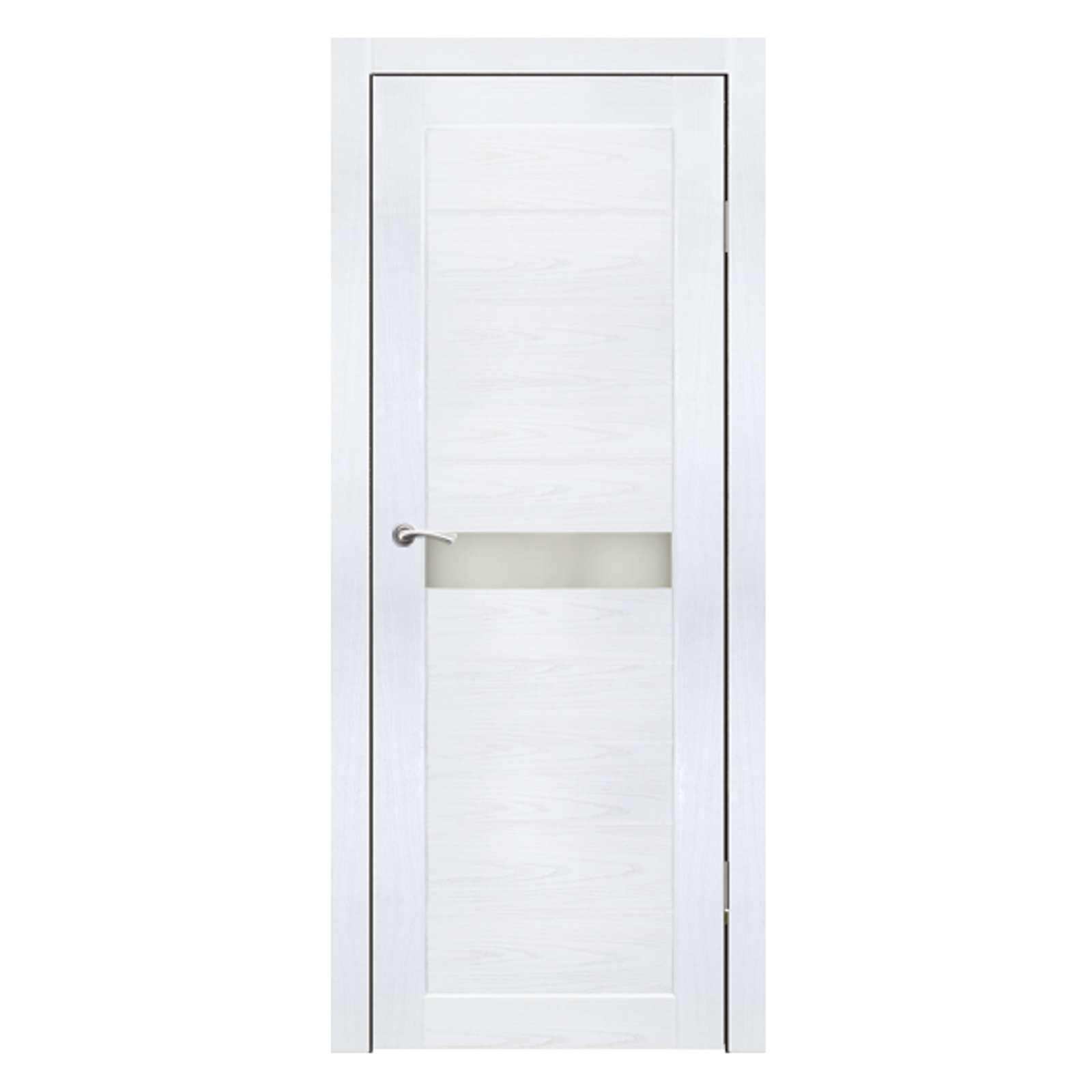 Полотно дверное остекленное Примо (стекло Лаколь белое) СИНЕРЖИ ясень белый ПВХ, ПДО 600х2000мм