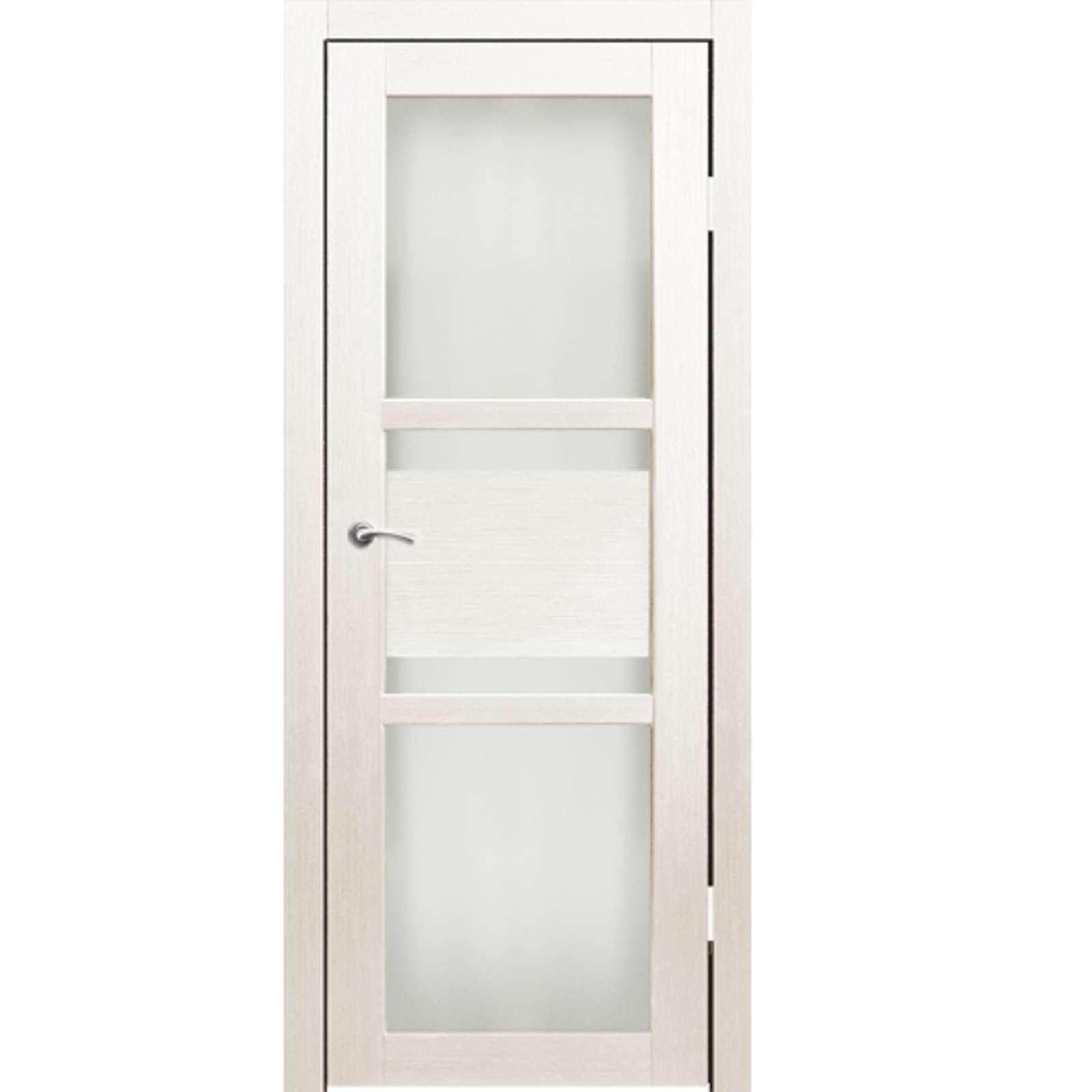Полотно дверное остекленное Титул (белое матовое стекло) СИНЕРЖИ дуб молочный ПВХ, ПДО 700х2000мм